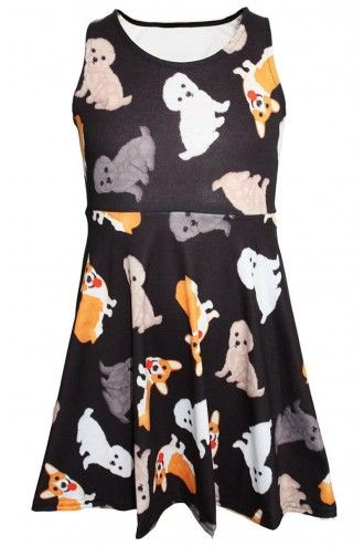 Cute Dogs Puppies Animal Print Girls Sleeveless Skater Dress
