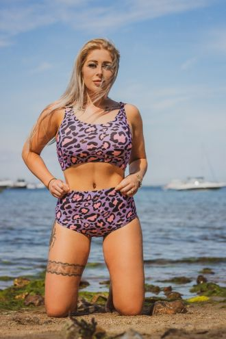 Classic Pink & Purple Animal Printed Sleeveless Crop Top High Waist Bikini Pants Coord Set