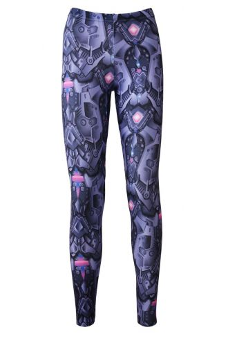 Purple Jewelled Steel Armour Panels Metallic Body Armour All Over Print Leggings
