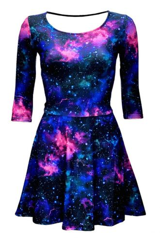 Purple Galaxy Space Stars Printed 3/4 Sleeve Skater Dress