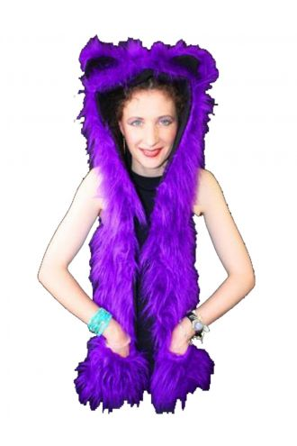 Neon UV Purple Fluffy Fur Scarf/Hood With Ears.