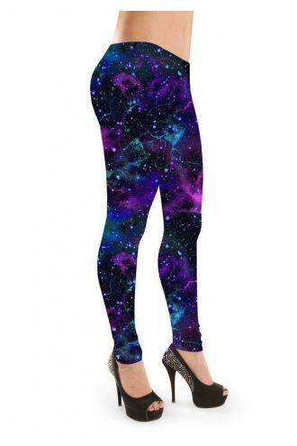 Purple Galaxy Space Cosmos Stars Printed Leggings