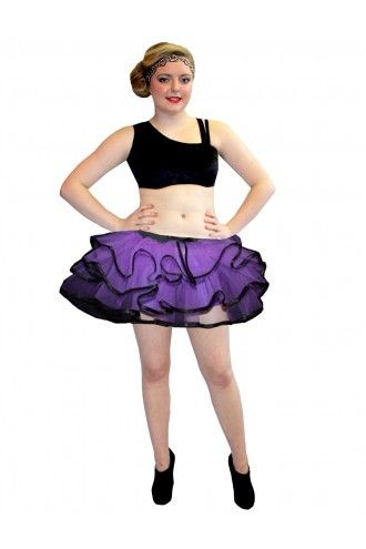 Neon UV Purple Bustle Frill Lilly Trim Tutu Skirt