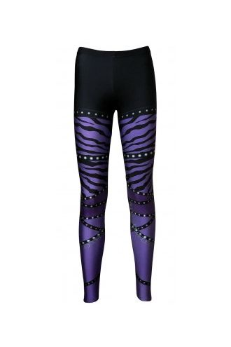 Purple Zebra Rock Metal Chain Skater Pants Effect Alternative Printed Block Leggings