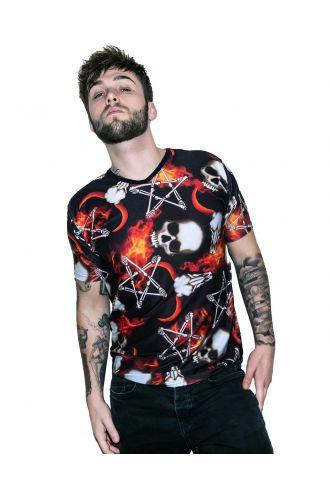 Occult Horned Ram Skull Bone Pentagram Flame Alternative Print V-Neck T-Shirt