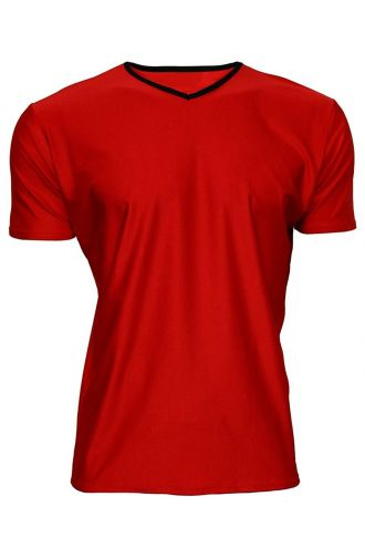 Men's Red Lycra Stretchy V-Neck TShirt Top Party Club Rave