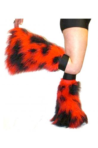 Red And Black Neon UV Legwarmers/Boot Covers Fluffies Cyber Rave