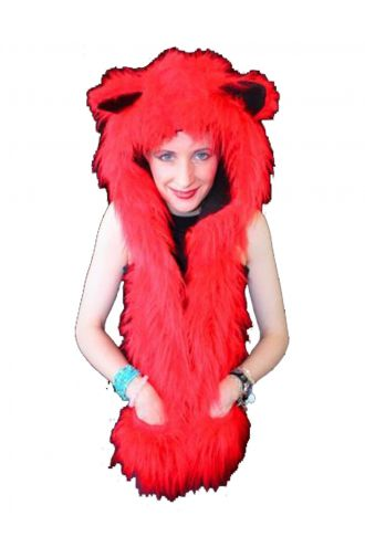 Neon UV Red Fluffy Fur Scarf/Hood With Ears.