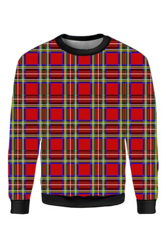 Red Tartan Classic Punk Printed Crew Neck Sweatshirt Jumper