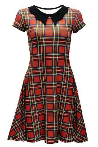 Red Tartan Classic Punk Rockabilly Printed Collar Dress