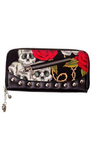 Skulls Roses & Thorns Studded Alternative Zip Up Wallet Purse
