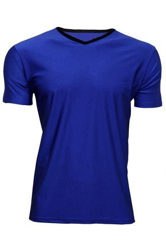 Men's Dark Blue Lycra Stretchy V-Neck TShirt Top Party Club Rave
