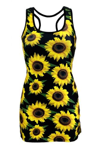 Gorgeous Sunflower Sunset Floral All Over Printed Long Vest Top