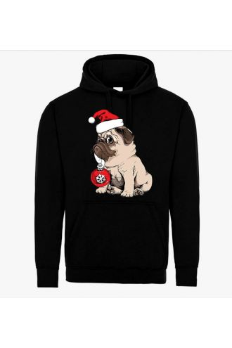 Unisex Christmas Cute Pug Puppy Dog Hoodie Santa Pull Over Fleece Jumper Sweatshirt