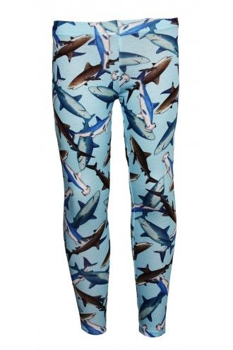 Cute Sharks Sealife Animal Print Girls Leggings