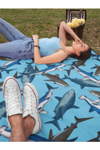 Sharks Sea Life Under Water Fish Digital Print Check Flames Throw Blanket