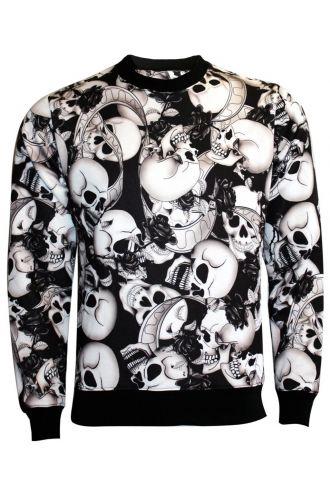 Black & White Skull Roses Banner Sweatshirt Jumper Top