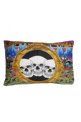 Gothic Multi Flames Skulls Snakes Fire Punk Printed Pillow Case.