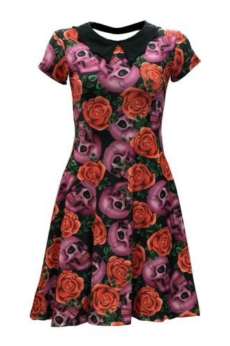 Skulls Roses Colourful Tattoo Floral Printed Collar Dress