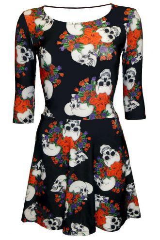 Skull Roses Tattoo Classic Floral Printed 3/4 Sleeve Skater Dress