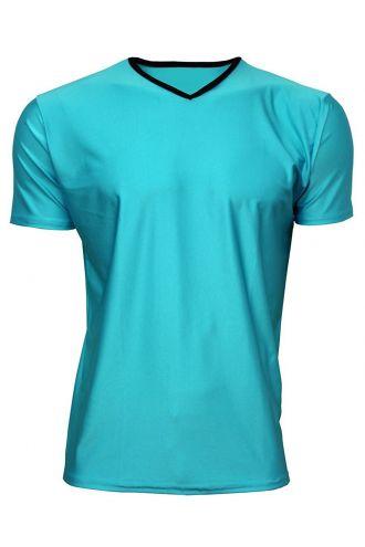 Men's Blue Neon Lycra Stretchy V-Neck TShirt Top Party Club Rave