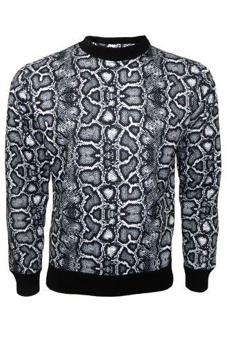 Classic Designer Monochrome Snake Python Skin Printed Crew Neck Sweatshirt Jumper Top