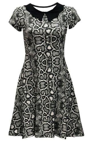 Classic Monochrome Snake Python Skin All Over Printed Collar Dress