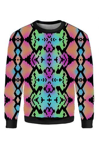 Multi Colour Snake Skin Reptile Printed Crew Neck Sweatshirt Jumper