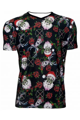 Mexican Sugar Skull Santa Reindeer Rose Holly And Candy Canes Christmas Print V-Neck T Shirt