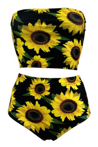 Gorgeous Sunflower Sunset Floral All Over Printed Crop Bandeau Top High Waist Bikini Pants Coord Set