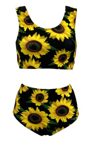 Gorgeous Sunflower Sunset Floral All Over Printed Sleeveless Crop Top High Waist Bikini Pants Coord Set