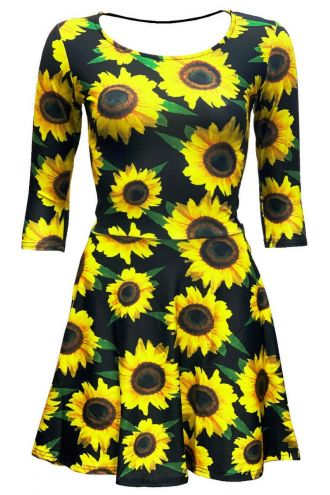 Gorgeous Sunflower Sunset Floral All Over Printed 3/4 Sleeve Skater Dress