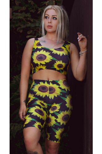 Gorgeous Sunflower Sunset Floral All Over Printed Sleeveless Crop Top Cycle Shorts Coord Set