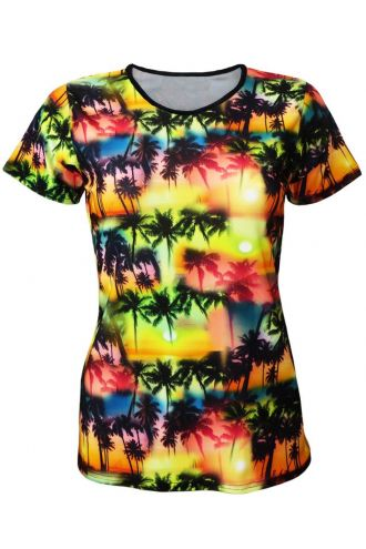 Los Angeles Beach Colourful Exotic Palm Trees Sunset Print Crew Neck T-Shirt Top