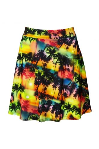 Los Angeles Beach Colourful Exotic Palm Trees Sunset Print Skater Flare Skirt