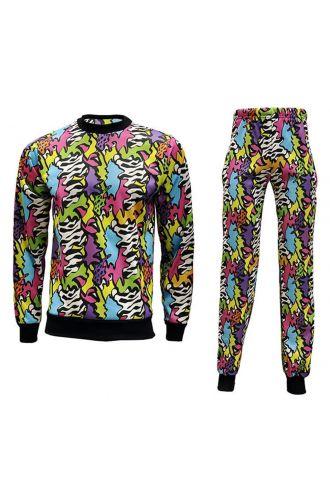 Unisex Zig Zag Waves Geometric Abstract Cosmic Design Fleece Sweatshirt & Pants Loungewear Set