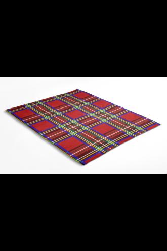 Red Tartan Classic Digital Print Check Flames Throw Blanket
