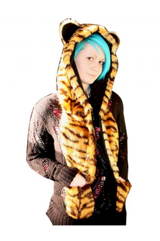 Fluffy Tiger Print Fur Scarf