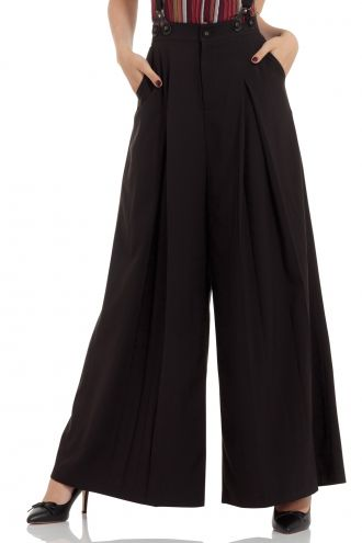 Classic Black 40's Vintage Style Wide Flare Suspenders Trousers