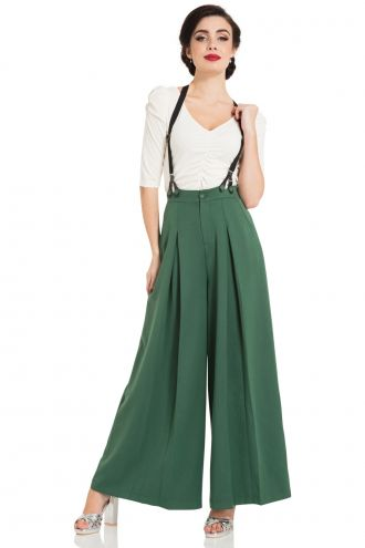 Gorgeous Sage 40's Vintage Style Wide Flare Suspenders Trousers
