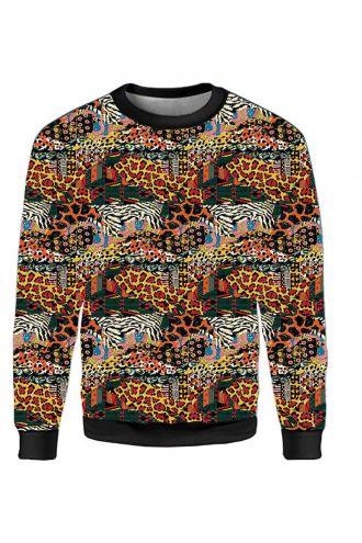 Traditional African Wild Animal Printed Crew Neck Sweatshirt Jumper