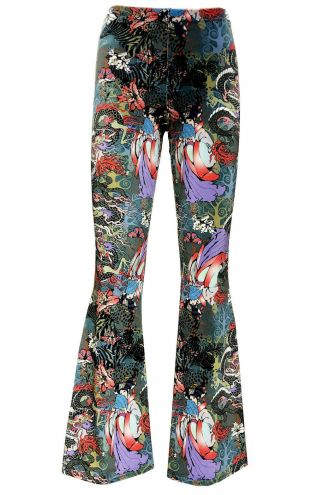 Traditional Japanese Doll Peacock Floral Fairies Dragon Velvet Velour Flare Bell Leggings