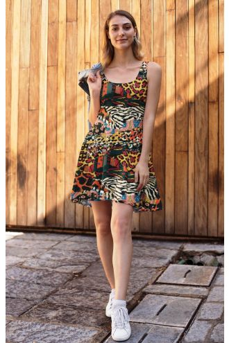 Traditional African Wild Animal Printed Fit & Flared Sleeveless Skater Dress