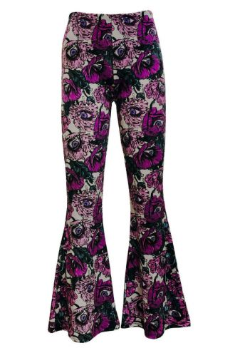 Flowers Floral Eyes Bloom Vintage Velvet Velour Printed Flare Bell High Waist Leggings