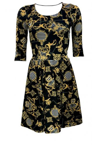 Vintage Gold Baroque Damask Paisley Monochrome Harlequin Velvet Velour Dress