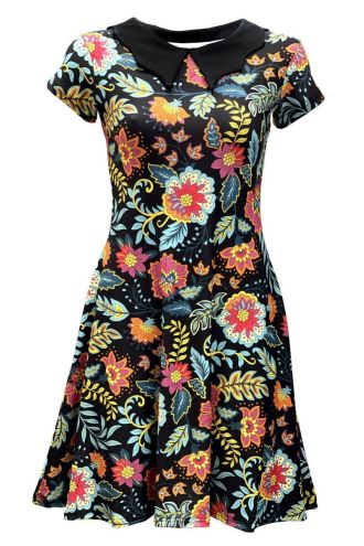 Vintage Decorative Blossom Floral Leaves Flowers Retro Swing Punk Rockabilly Printed Collar Dress