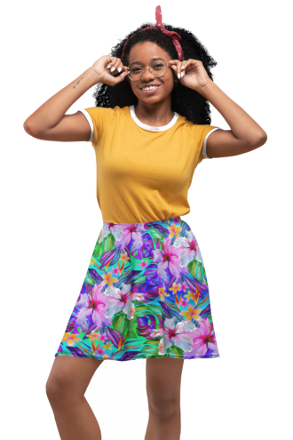 Tropical Floral Watercolour Exotic Palm Leaves Retro Vintage Printed Skater Skirt