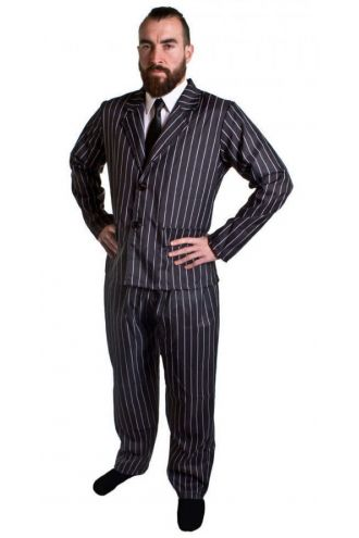 Mens Gangster 1920s Pinstripe Party Suit Halloween Fancy Dress Costume