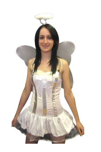 Sexy White Fairy Angel Fancy Dress Costume Outfit 4Pcs