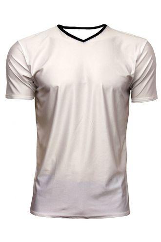Men's White Lycra Stretchy V-Neck TShirt Top Party Club Rave